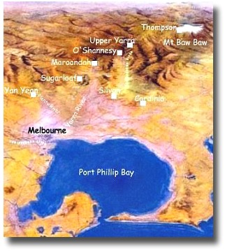 Water catchment map for Melbourne Australia