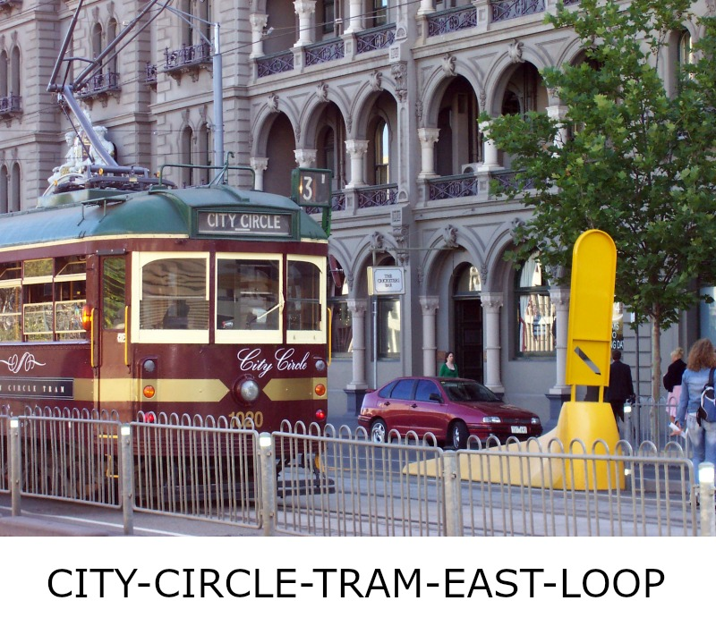 Image link to site page for more information on the Melbourne's City Circle Tram loop eastward