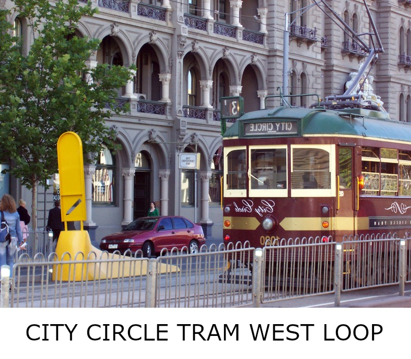 Image link to site page for more information on the Melbourne's City Circle Tram loop westward