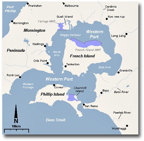 Map Of Westernport Bay - Victoria - Australia