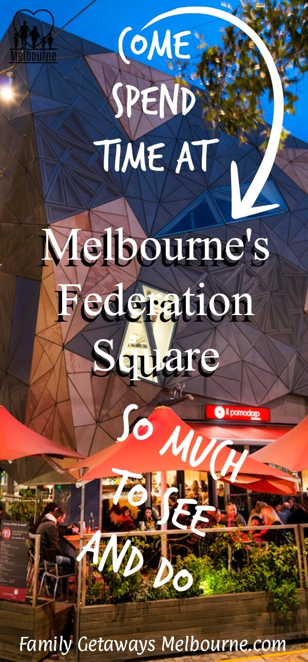 Image of Federation Square that you can pin to your Pinterest board