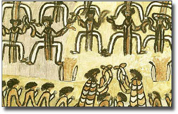 Artistic drawing of an aboriginal corroboree