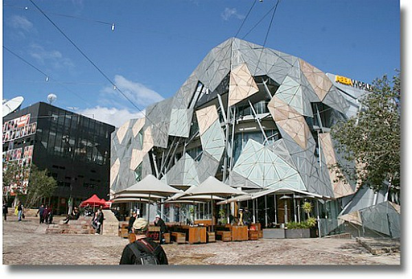 Federation Square compliments of http://www.flickr.com/photos/beaugiles/5085962588/