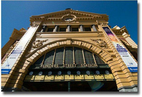 Flinders Street Station in Melbourne Australia compliments of  http://www.flickr.com/photos/chrissam42/3198347000/