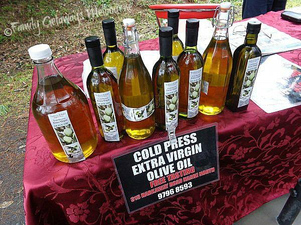 Todisco Estate Olive Oil selling at the Gembrook market, Melbourne Australia