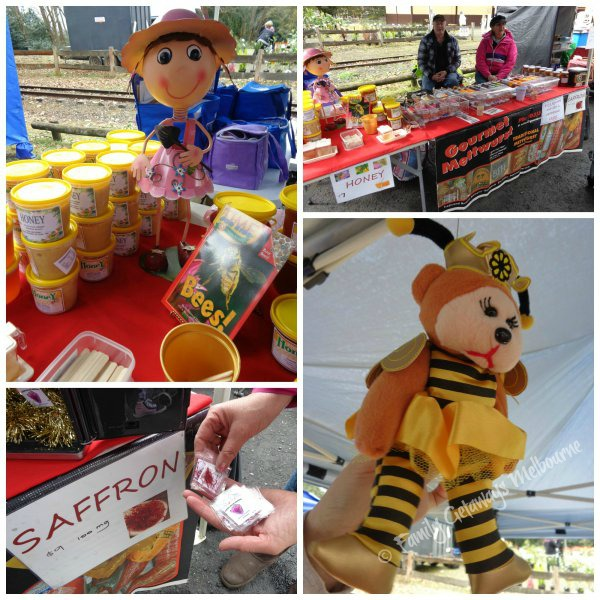 Honey and homegrown saffron sellin at the Gembrook Market