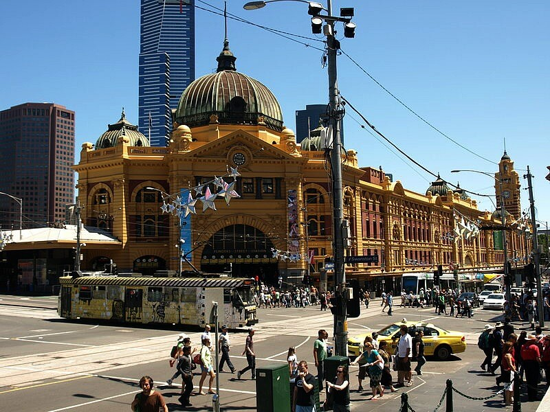 Flinders Street Station corner of Swanston and Flinders Streets and opposite Federation Square