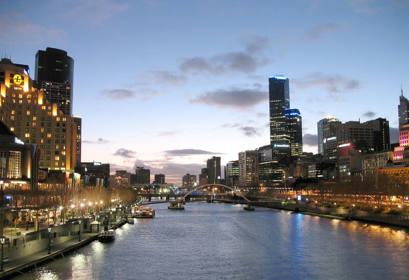View along the Yarra River taken from the Princess Bridge right in the heart of Melbourne, Australia