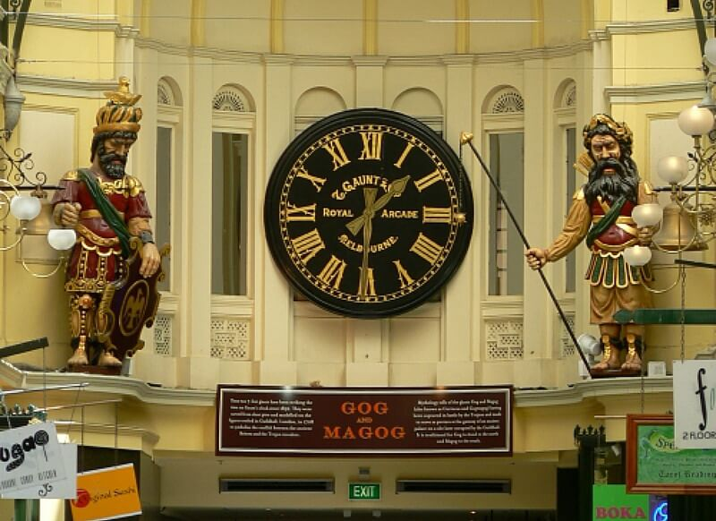 Gog and Magog can be found in the Royal Arcade Melbourne, Australia