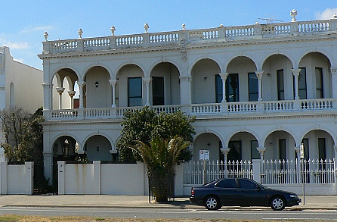 Unique building facades along Beaconfield Parade in Port Melbourne, Victoria - Australia