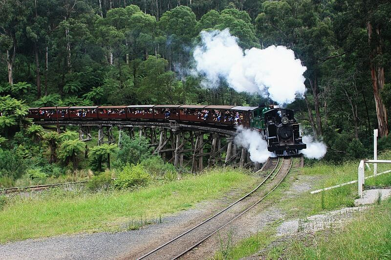 The historical Puffing Billy Train as she travels through the Dandenong Ranges in Victoria, Australia