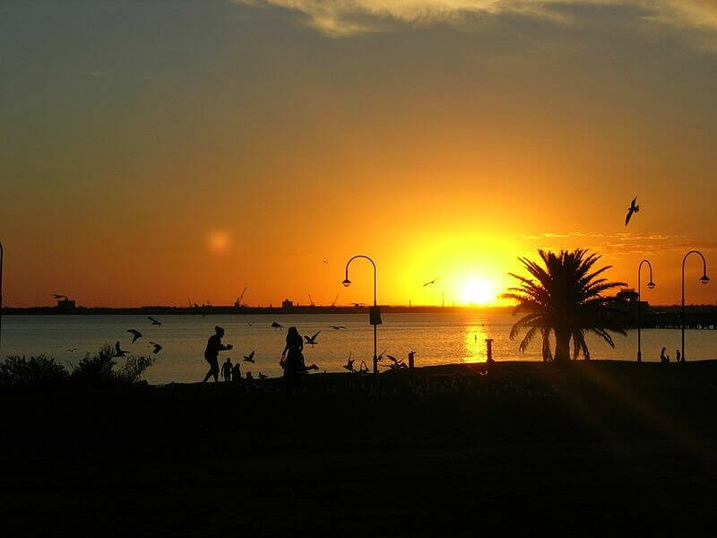 Sunset on St Kilda Beach on Port Phillip Bay, Melbourne Australia