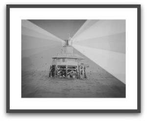 Poster framed of the West Channel Light in Port Phillip Bay