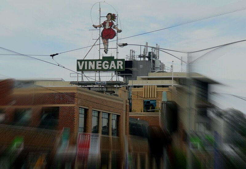 The Skipping Girl Vinegar Sign
