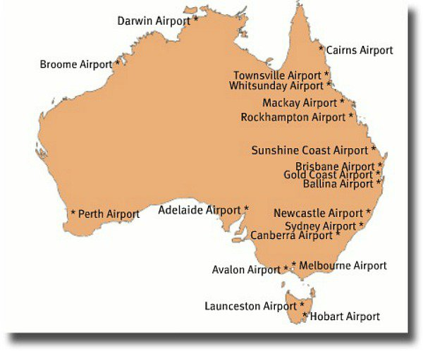Map of major airports in Australia