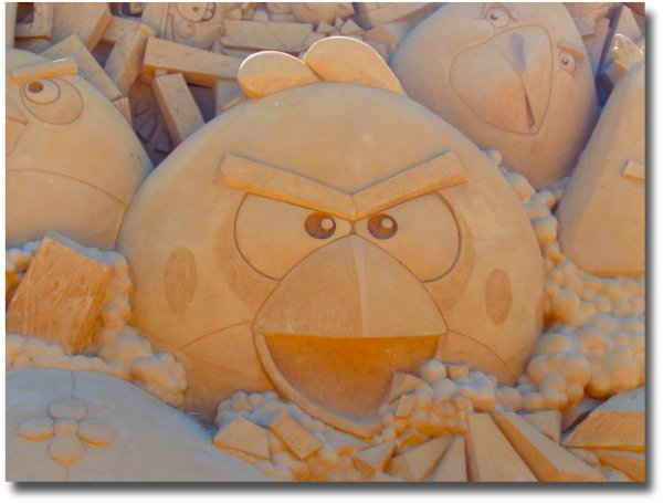 Angry Birds sand sculpture on the Frankston foreshore