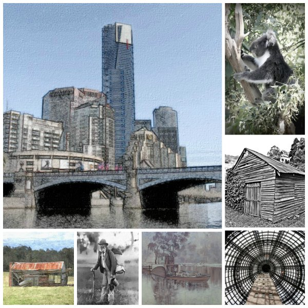 Collage selection of posters in the series on Melbourne - Australia