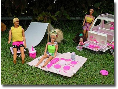 Barbie Dolls at a their family picnic