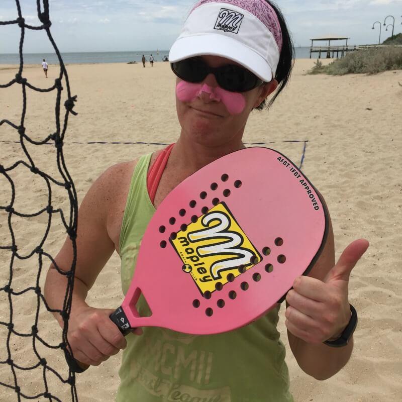 Beach tennis racquet used to play beach tennis games down at Port Melbourne Beach