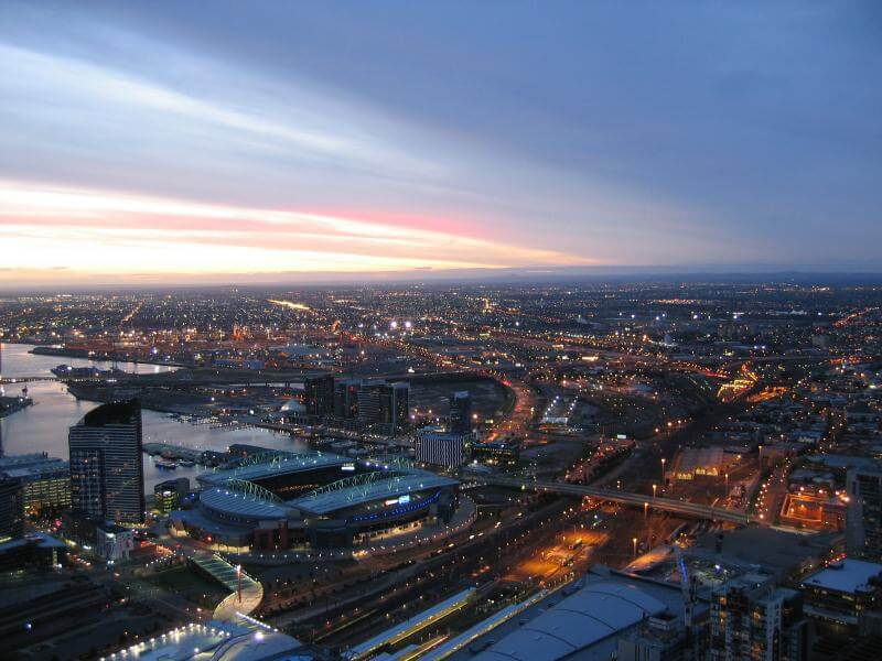 Sunrise over the Docklands in Melbourne