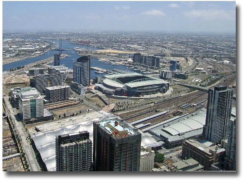 View of the Melbourne Australia Docklands circa 2008 compliments of http://en.wikipedia.org/wiki/File:Telstra_Dome_08.jpg licensed under the Creative Commons Attribution-Share Alike 2.0 Generic license