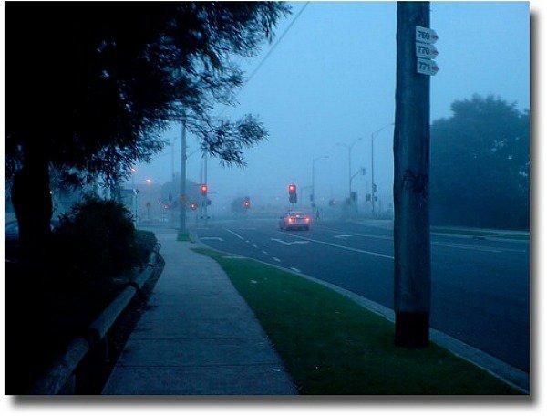 Melbourne foggy street compliments of  http://www.flickr.com/photos/dalegillard/2545220748/