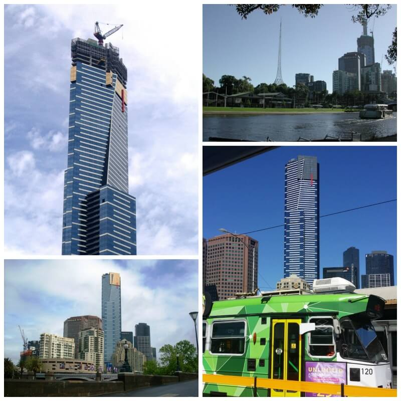 Collage of images of the Eureka Tower construction in Melbourne, Australia