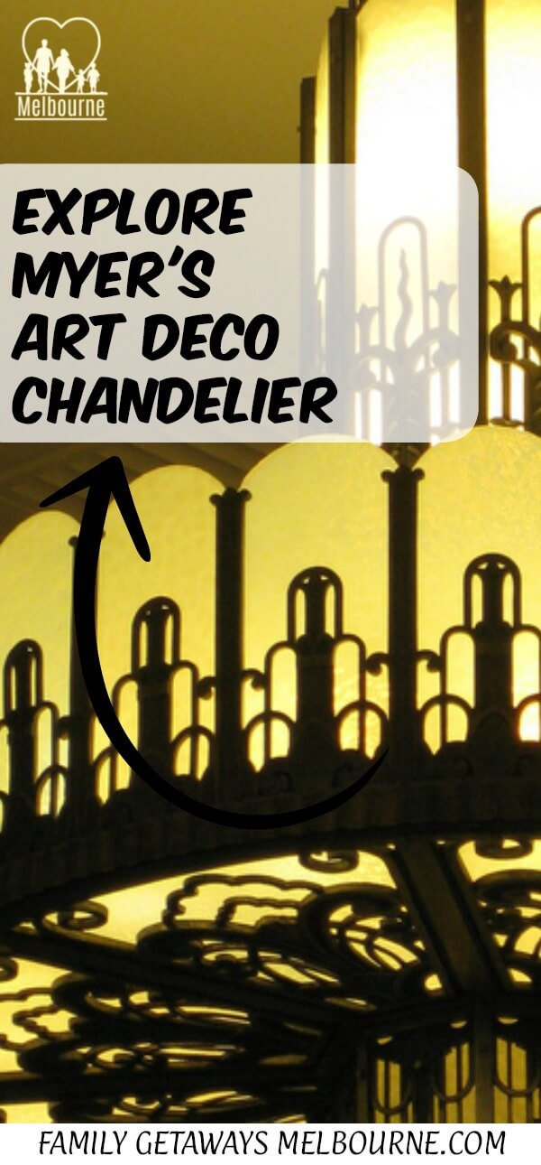 Image to pin on Pinterest of the Myer Mural Hall art deco chandelier