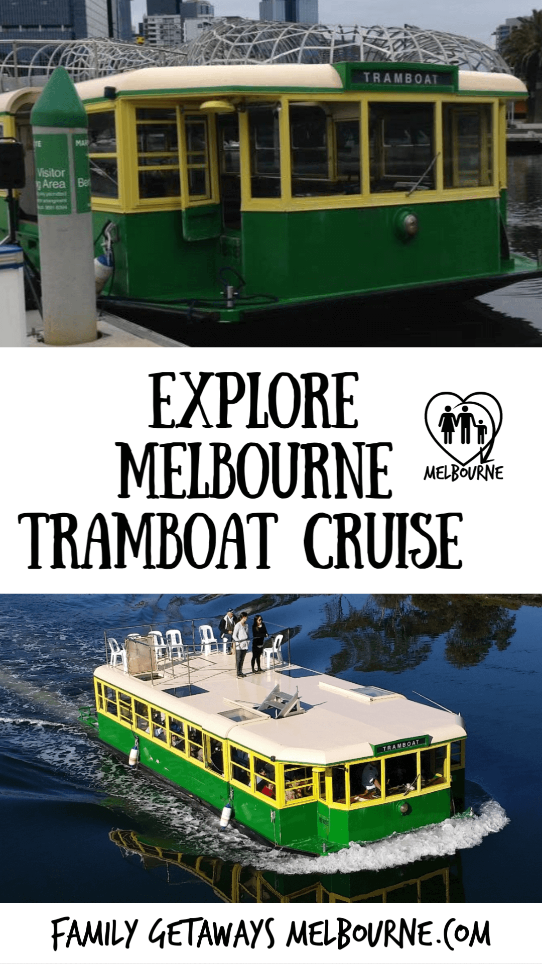 image to pin to Pinterest for the tramboat river cruise in Melbourne