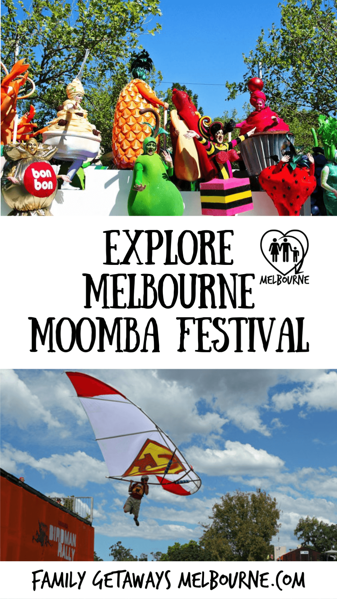 image to pin to Pinterest for the site page on the Melbourne Moomba Festival