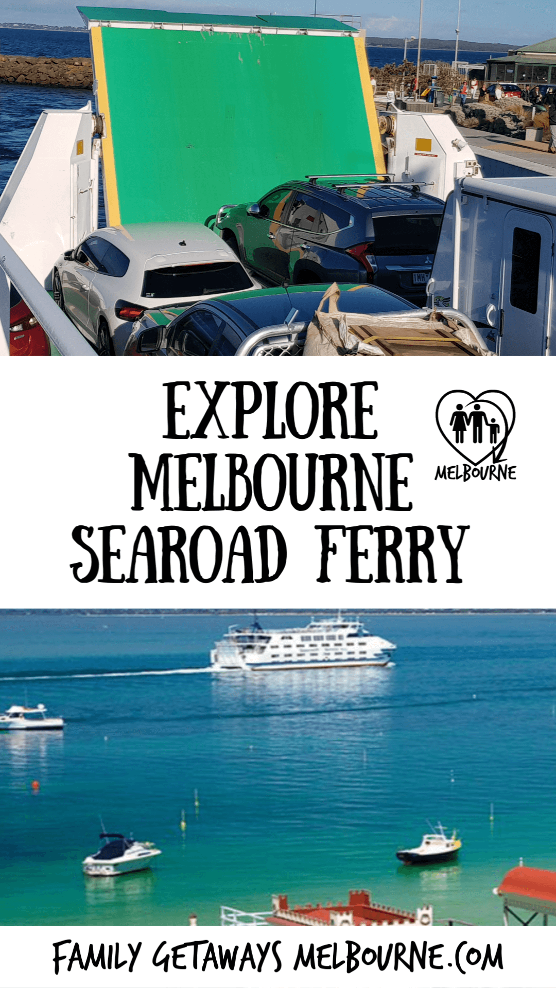 image of the Sorrento ferry shuttling passengers and vehicles between Sorrento and Queenscliff