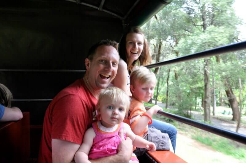 family having fun riding the puffing billy railway line compliments of http://www.flickr.com/photos/thomasrdororg/6317302661/