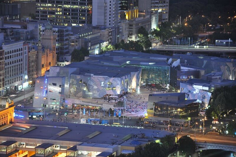Federation Square Melbourne Australia by Jorge Láscar from Australia (Federation Square) [CC BY 2.0 (http://creativecommons.org/licenses/by/2.0)], via Wikimedia Commons