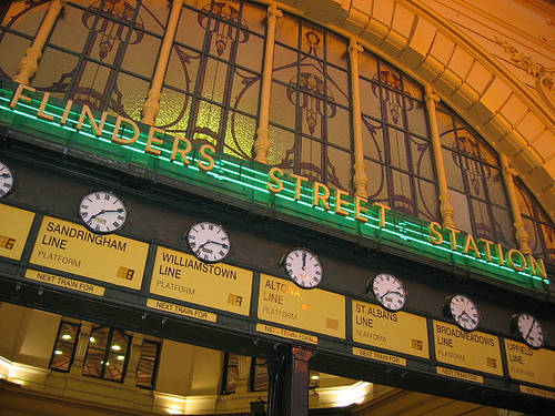 Meet under the clocks at Flinders Street Station compliments of http://www.flickr.com/photos/alisonjfb/291768591/