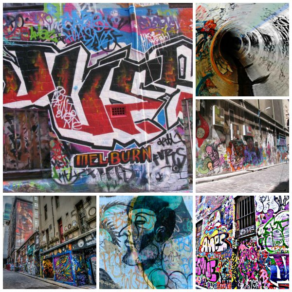 Collage o Series of Street Art or Graffiti Posters