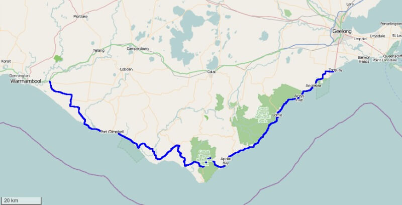 The Great Ocean Road map compliments of OpenStreetmap, Gryllida - openstreetmap.org and own work, CC BY-SA 3.0, https://commons.wikimedia.org/w/index.php?curid=30423854