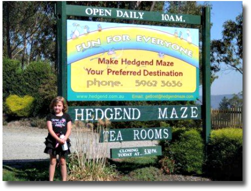 Entrance to the Hedgend Maze in Healesville Victoria, Australia