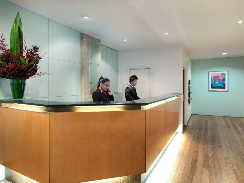 Reception desk at the Ibis Hotel Little Bourke Street Melbourne Australia