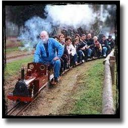 Riding the miniature engine at Kilsyth