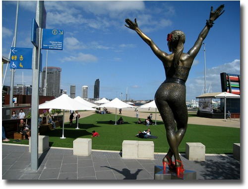 Kylie welcomes you to the Melbourne Docklands compliments of  http://www.flickr.com/photos/steve_way/4484079668/