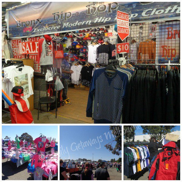 New and used clothing for sale at the Laverton Market in Victoria