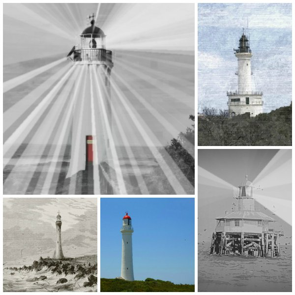 Collage selection on the series of Lighthouse posters