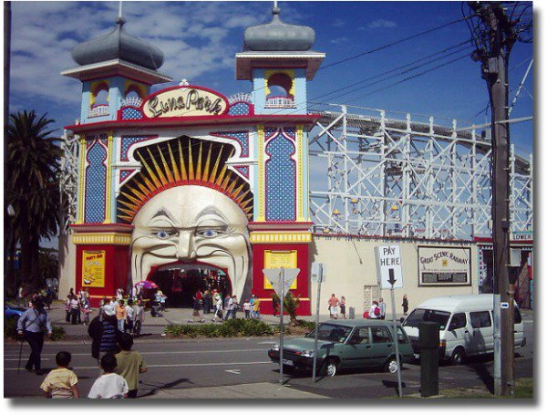 Luna Park entrance with the iconic Moon face and twin towers compliments of http://www.flickr.com/photos/88483590@N00/36542198/