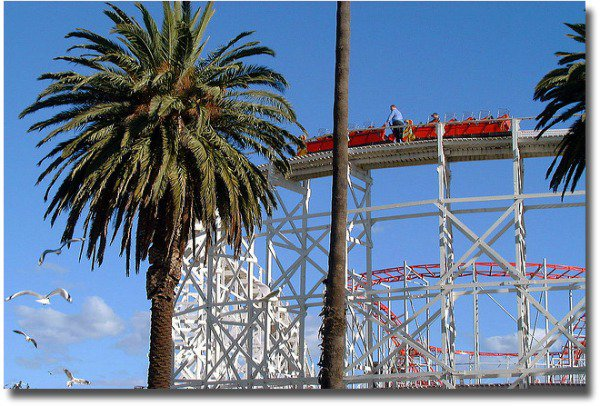 The standing brakeman on the scenic railway at Luna Park in Melbourne compliments of http://www.flickr.com/photos/87603889@N00/87912341