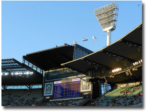 Melbourne Cricket Ground Scoreboard compliments of http://www.flickr.com/photos/mikecogh/6941102500/