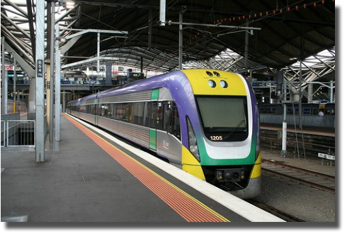 Country Vline train at Southern Cross Station Melbourne, Australia compliments of http://www.flickr.com/photos/roseholley/4611979610/