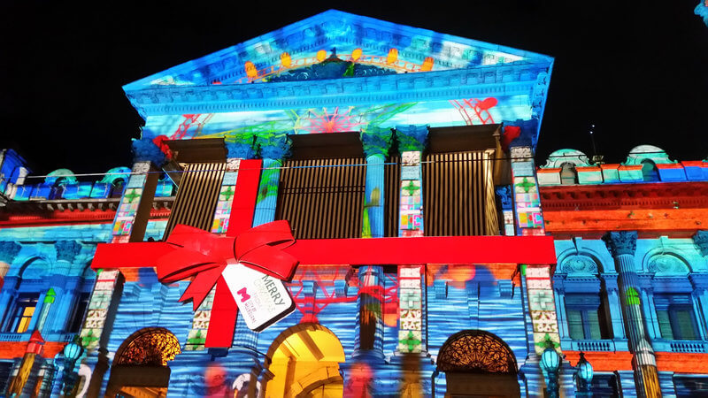 Melbourne Town Hall Christmas Projections compliments of https://flic.kr/p/B7MUs9