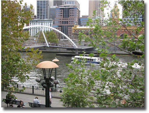Yarra River ferry and walking bridgeway from Southbank, Melbourne - Australia compliments of http://www.flickr.com/photos/nixit/3474824936/