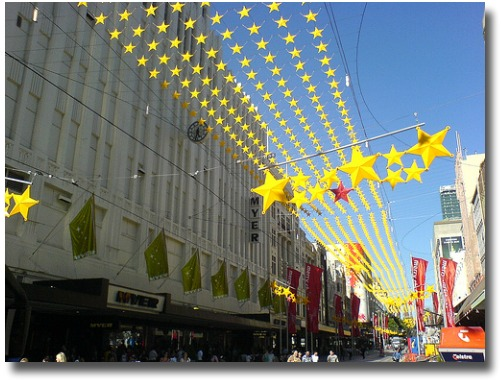 Christmas decorations in Melbourne City street compliments of http://www.flickr.com/photos/dwz/76637246/