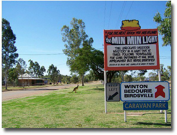 Min Min Light sign out on the Birdsville track